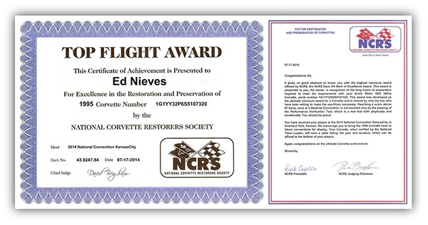 Four Top Flights, an NCRS Performance Verification Award (which requires every component of the car to work to factory specifications), and an NCRS Hill Mark of Excellence Award (reportedly, only 34 cars have won this NCRS prestigious award).
