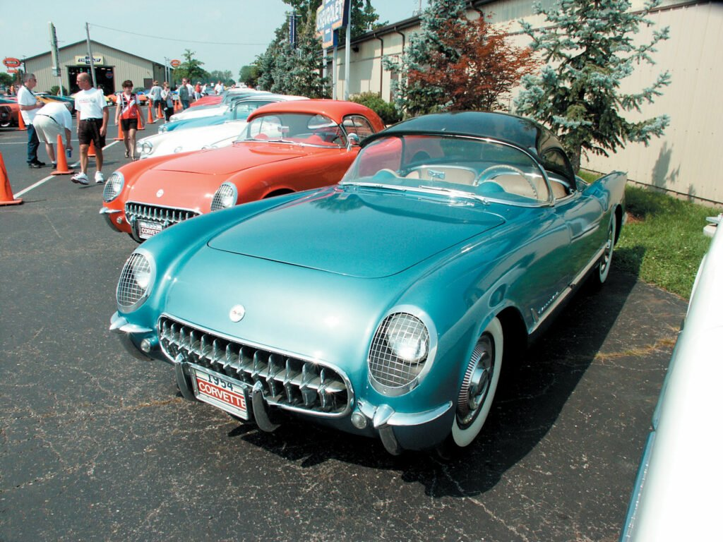 1954 Pennant Blue Corvette Bubble Top that was on display at the Bob McDorman Corvette show in 2007.