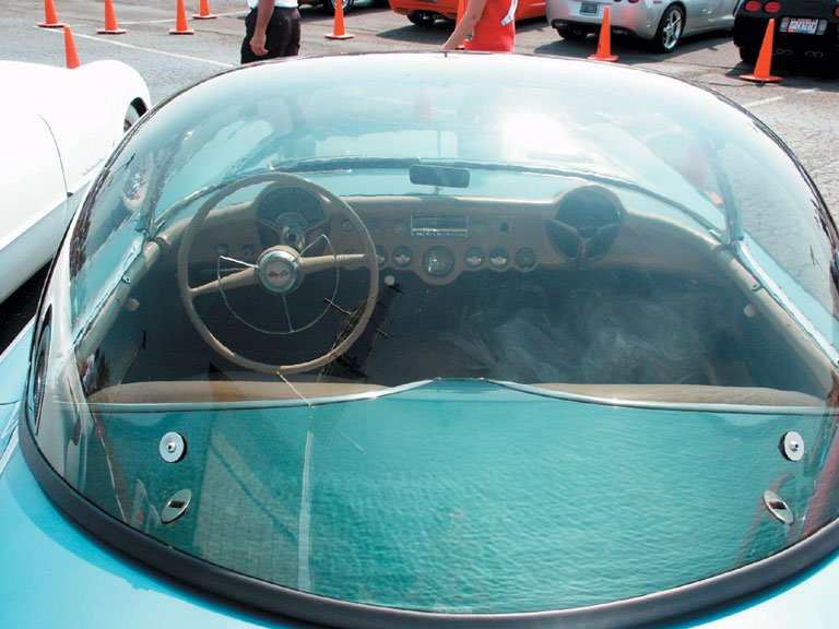 Looking in from the rear of the 1954 Pennant Blue Corvette Bubble Top you can see the beautiful dash.