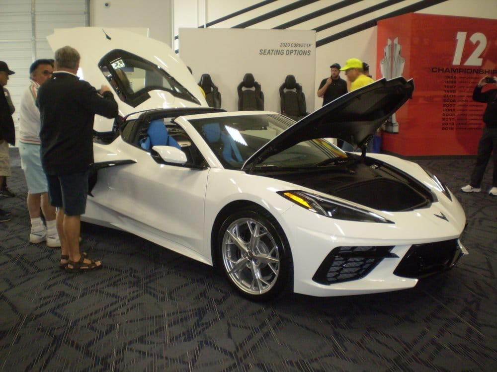 2020 Arctic White C8 Mid-Engine Corvette with  Tension w/ Twilight Blue Dipped interior at 4th Bloomington Gold Charlotte 2019.