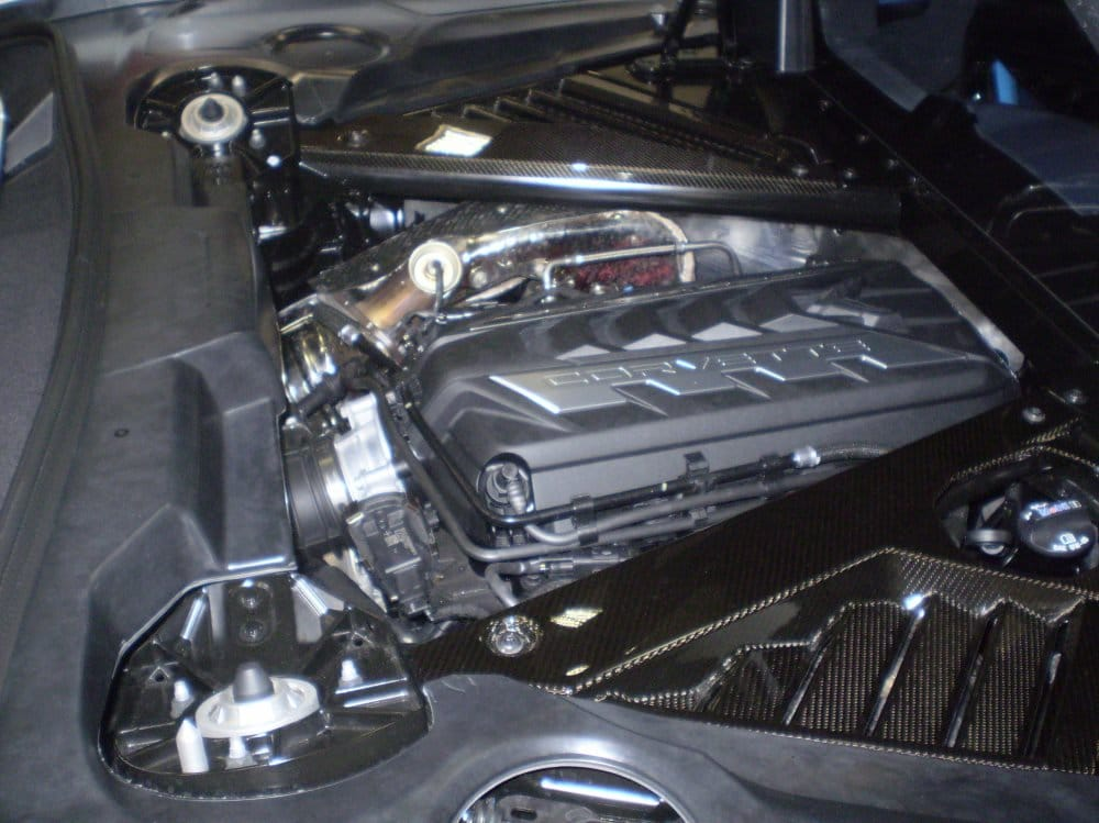 The new mid-engine Corvette has a 6.2-liter V-8 making 490 horsepower.