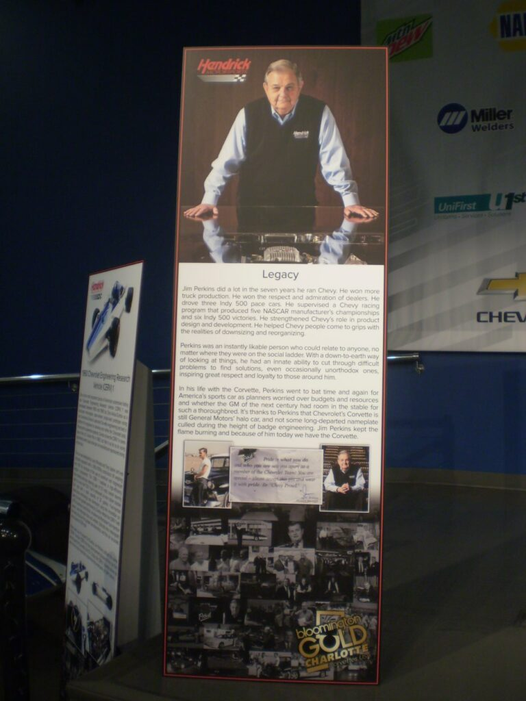 Special display boards produced by Hendrick Motorsports highlighting the 30 year General Motors career of Jim Perkins, a GM Vice President and Chevrolet's General Manager through 1996.