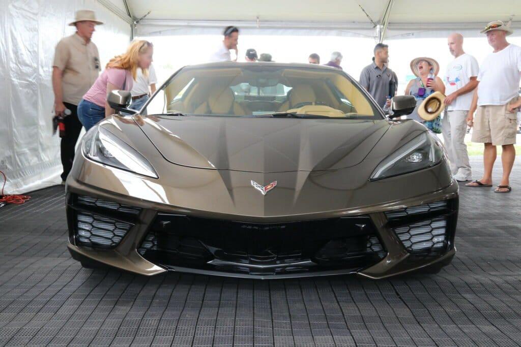 Front View of 2020 C8 Corvette In Zeus Bronze at Corvettes at Carlisle