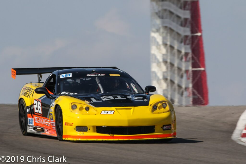 # 26 Aaron Pierce qualified right behind Cindy Lux Viper and had a shot to win the SGT class but dropped out on lap 14 in the 30-lap race at the Trans Am at the Circuit of Americas.