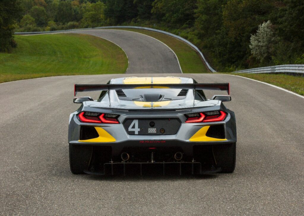 The Corvette C8.R is Chevy's first mid-engine GTLM race car. The No. 4 car dons a new silver livery, inspired by the color of iconic Corvette concepts. The No. 3 car will feature a traditional yellow color scheme with silver accents.