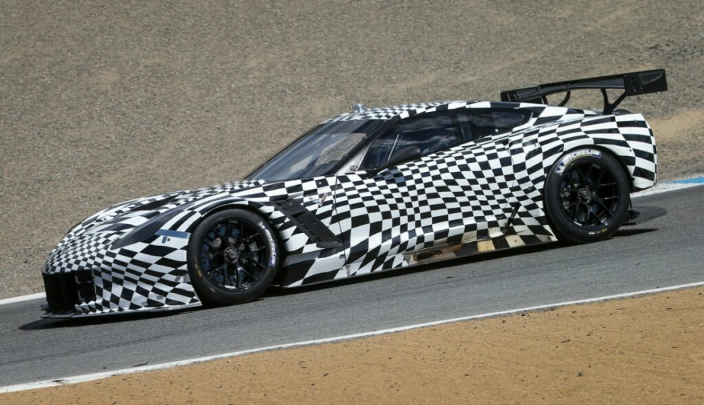 C7.R in camouflage. The C7.R, which is based on the all-new 2014 Corvette Stingray, will make its racing debut at the Rolex 24 At Daytona in Daytona Beach, Florida on January 26, 2014. (Chevy Racing) © General Motors