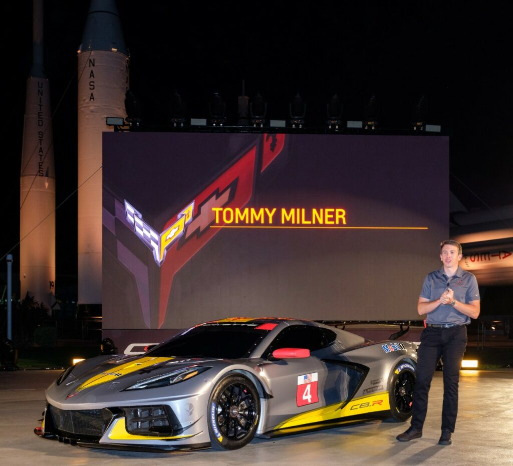 Team Corvette Race Driver Tommy Milner unveils Chevrolet's first mid-engine GTLM race car - the Corvette C8.R - Wednesday, October 2, 2019 at the Kennedy Space Center in Cape Canaveral, Florida. The C8.R will make its racing debut at Rolex 24 at Daytona in January 2020. The C8.R No. 4 car dons a new silver livery, inspired by the color of iconic Corvette concepts such as the 1973 Chevrolet Aerovette and the 1959 Corvette Stingray Racer. (Photo by Steve Fecht for Chevrolet)