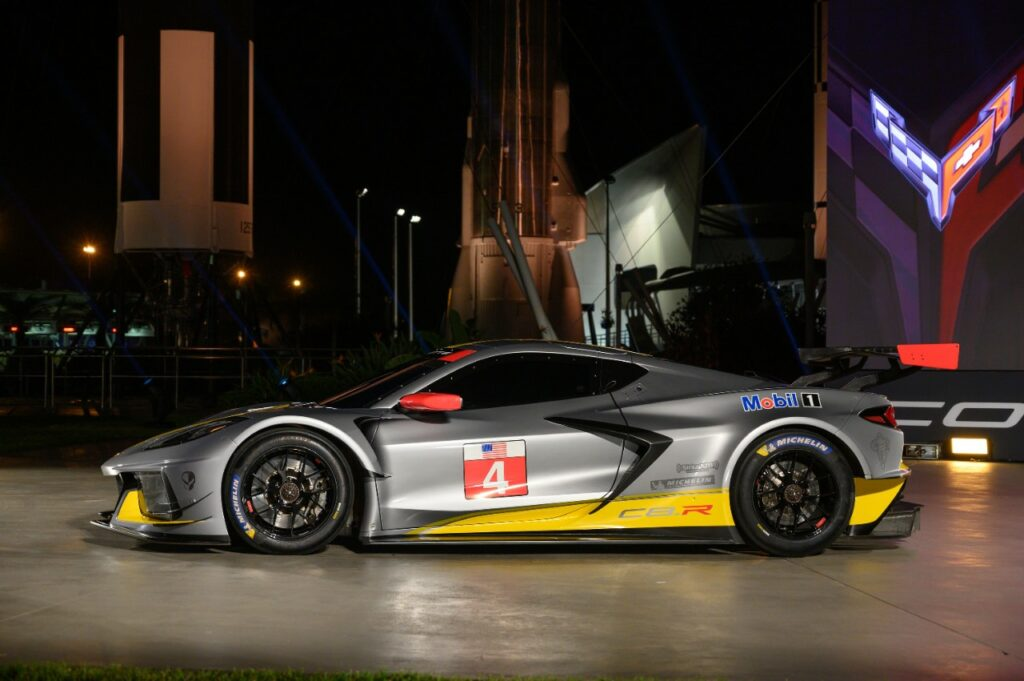 Chevrolet's first mid-engine GTLM race car - the Corvette C8.R - makes a surprise debut Wednesday, October 2, 2019 at the Kennedy Space Center in Cape Canaveral, Florida. The C8.R will make its racing debut at Rolex 24 at Daytona in January 2020. The C8.R No. 4 car dons a new silver livery, inspired by the color of iconic Corvette concepts such as the 1973 Chevrolet Aerovette and the 1959 Corvette Stingray Racer. (Photo by Preston Mack for Chevrolet)