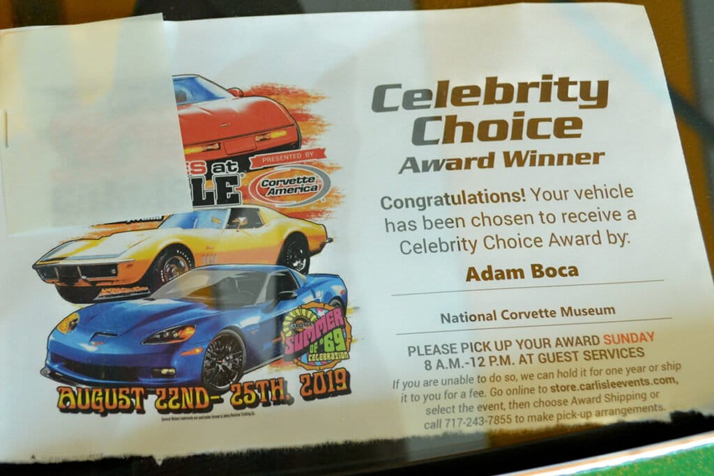 Adam Boca chose Kevin's Corvette as his Celebrity Choice Winner.  Adam is with the National Corvette Museum.
