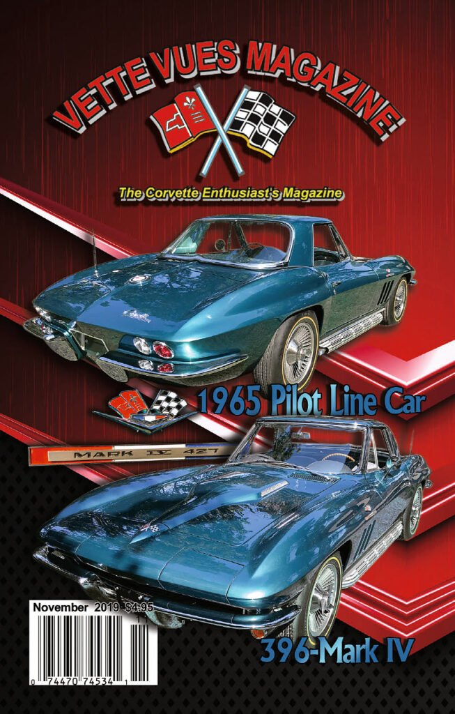 On the Vette Vues Magazine November 2019 cover we feature David Holden and Mike Tucker's stunning 1965 Corvette Pilot Line convertible which was recently restored by the Nabor Brothers of Houston Texas.