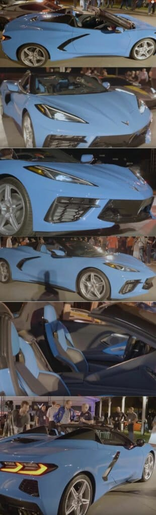 Rapid Blue 2020 Chevrolet Corvette C8 Convertible at Reveal October 2, 2019.