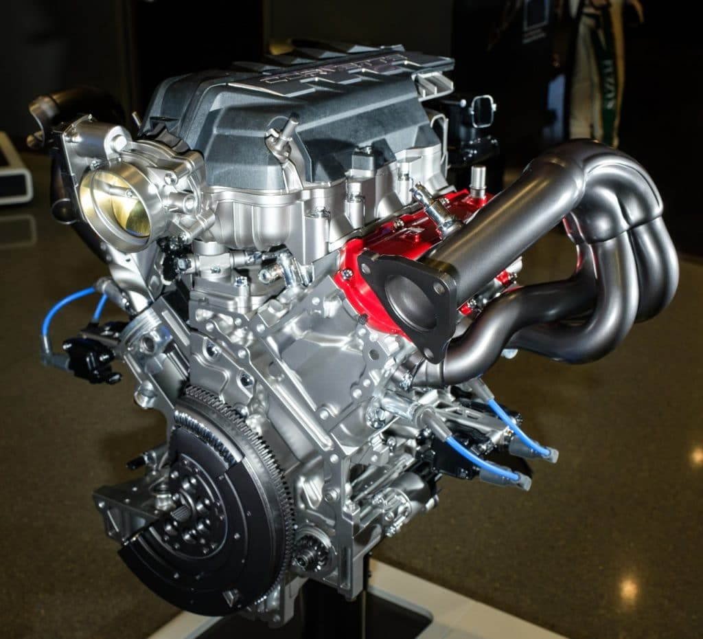 A cut-away version of the LT2 6.2L V-8 engine for the 2020 Corvette Stingray. The new mid-engine Corvette featuring the LT2 and dual-clutch transmission can reach 60 mph in 2.9 seconds and cross the quarter mile mark in 11.2 seconds at 121 mph. (Photo by Steve Fecht for Chevrolet)