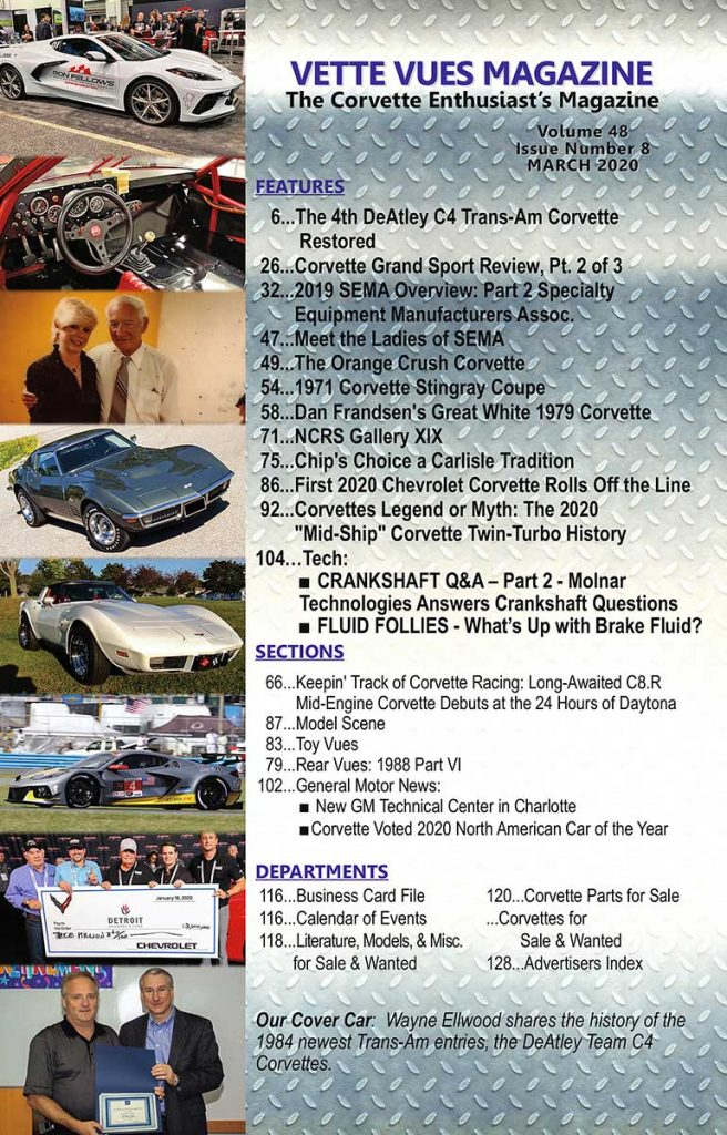 Article list for the Vette Vues Magazine March 2020 issue.