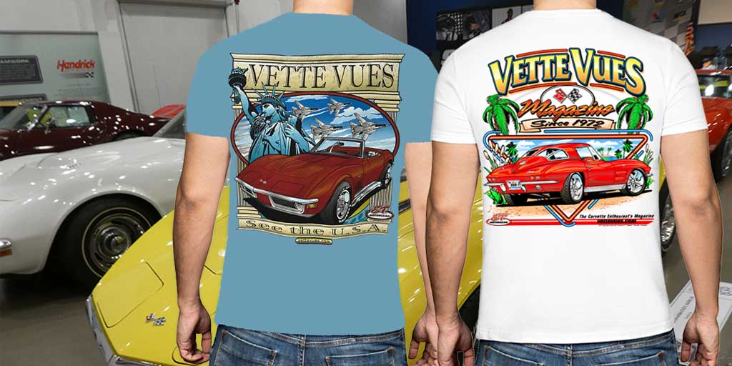 Vette Vues have several Corvette style shirts to choose from, no matter if they like Classic Corvettes or the Newest Years! Our Corvette shirts are 100% pre-shrunk cotton and the print is beautifully silkscreened on the back of the tee with a small crest on the front.