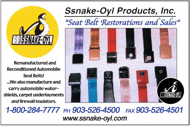 Ssnake-Oyl Products - Seat Belt Restorations and Sales