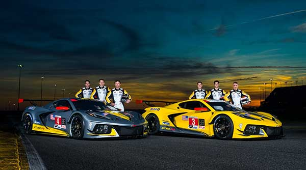 Oliver Gavin (l to r), Tommy Milner and Marcel Fässler, co-driver teammates in the #4 Mobil 1/SiriusXM Chevrolet Corvette C8.R; and Nicky Catsburg (l to r), Jordan Taylor and Antonio Garcia, co-driver teammates in the #3 Mobil 1/SiriusXM Chevrolet Corvette C8.R. (Photo by Richard Prince for Chevy Racing)