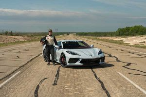 May 8, 2020, John Heinricy drove a Hennessey-prepared C8 Corvette to a top speed of 205.1 mph on the 8.0-mile high-speed oval at the Continental Tire Uvalde Proving Grounds, which is located approximately 80 miles west of San Antonio, Texas.
