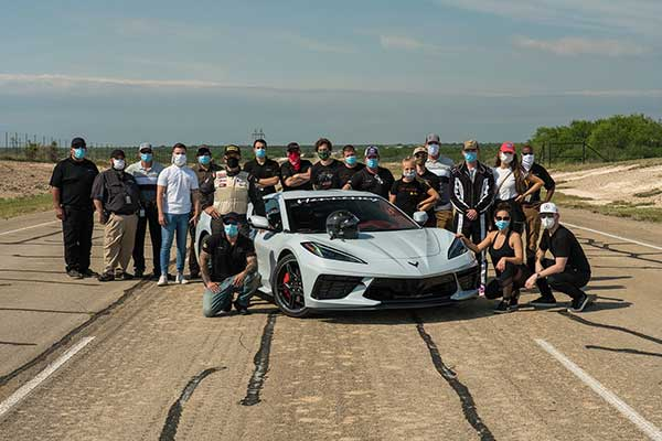 The Hennessey team with the modified 2020 C8 Corvette that is the fastest Chevy C8 Corvette to date. Photo: Courtesy of Hennessey Performance Engineering.