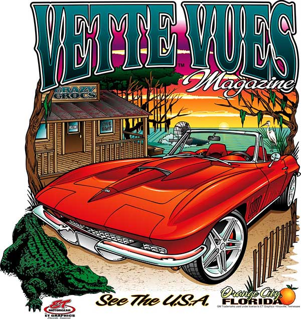 Vette Vues T-Shirt with a Corvette in the Everglades.