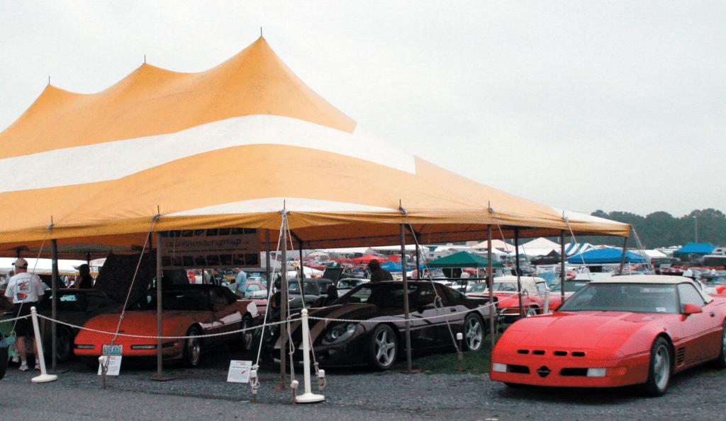 The Callaway tent at Corvettes at Carlisle 2007.