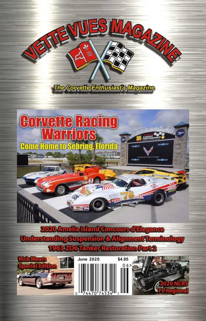 Vette Vues Magazine June 2020 Issue Cover: Our Cover Car:  Corvette Racing Team was going to Sebring for testing to prepare for the 12 Hours of Sebring race in March (2020). A historical Corvette Racing photoshoot was organized, and K. Scott Teeters went to cover it for Vette Vues.