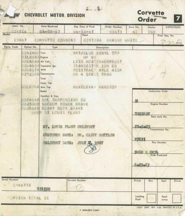 1967 L88 Corvette L88 Order