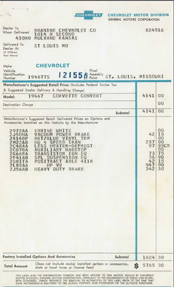 Window Sticker shows the dealer as Branin Chevrolet in Mulvane Kansas. The total price on the sticker is $5,765.30 which included factory installed options and accessories totaling $1,624.30.
