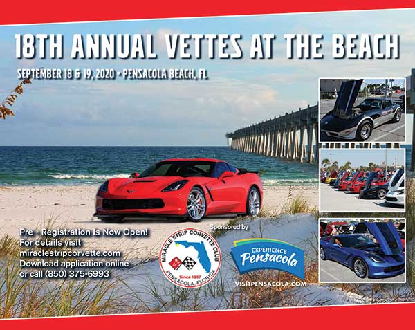 18th Annual Vettes at the Beach at Pensacola Beach Florida September 18-19, 2020