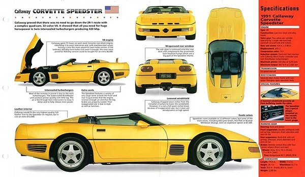 1991 Corvette Callaway Speedster Brochure