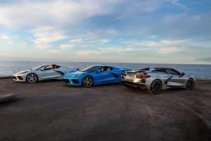 2021 Chevrolet Corvette Stingray Coupe and Convertible (far right in new Silver Flare Metallic)