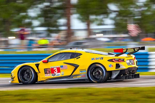 The #3 Mobil 1/SiriusXM Chevrolet Corvette C8.R driven by Antonio Garcia and Jordan Taylor races to a second place finish Saturday, July 18, 2020 during the 2020 IMSA WeatherTech SportsCar Championship Cadillac Grand Prix of Sebring at Sebring International Raceway in Sebring, Florida. This is the first IMSA race of the season with fans socially distanced at the racetrack, as a result of the COVID-19 pandemic. (Photo by Richard Prince for Chevy Racing)