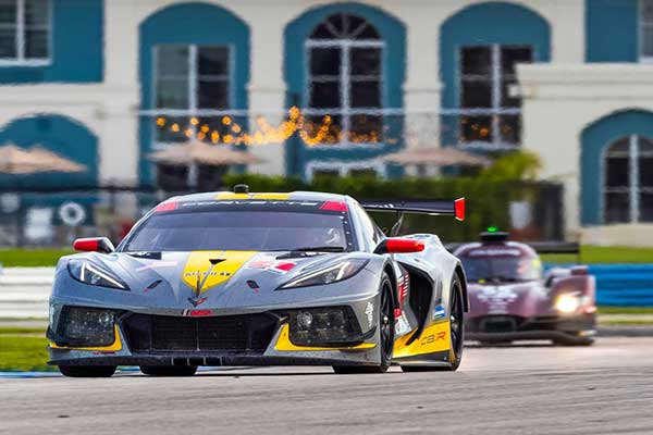 The #4 Mobil 1/SiriusXM Chevrolet Corvette C8.R driven by Oliver Gavin and Tommy Milner race to victory Saturday, July 18, 2020, winning the 2020 IMSA WeatherTech SportsCar Championship Cadillac Grand Prix of Sebring at Sebring International Raceway in Sebring, Florida. This is the first IMSA race of the season with fans socially distanced at the racetrack, as a result of the COVID-19 pandemic. (Photo by Richard Prince for Chevy Racing)