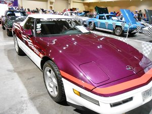 The 1995 Corvette Pace Car Replica featured a two-tone paint scheme – Dark Purple Metallic layered over Arctic White paint.