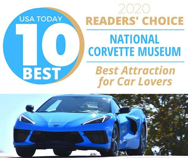 The National Corvette Museum earned top honors in the 2020 USA TODAY 10-Best Readers' Choice travel award contest for Best Attraction for Car Lovers.