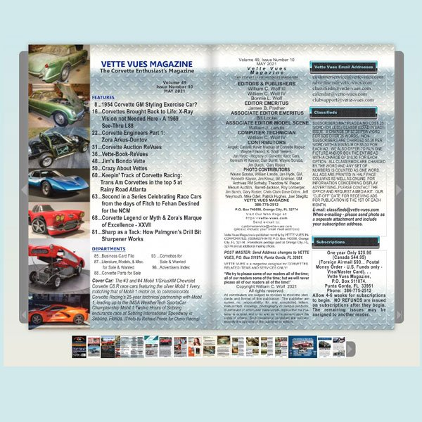 MAY 2021 Digital Issue VETTE VUES MAGAZINE, The Corvette Enthusiast's Magazine, Volume 49, Issue Number 10, #594