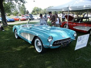 1956 Cascade Green Corvette with the 225 hp, dual fur barrel carbureted 265 ci V-8.