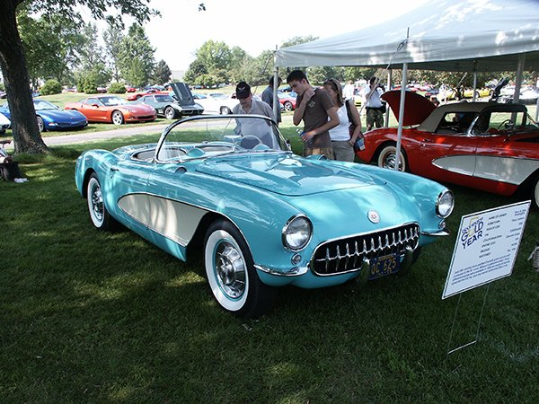 1956 Cascade Green Corvette with the 225 hp, dual fur barrel carbureted 265 ci V-8.  The Cascade Green was the least chosen color that year, with only 290 made.