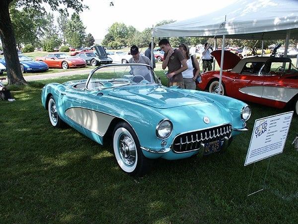 1956 Cascade Green Corvette with the 225 hp, dual fur barrel carbureted 265 ci V-8.