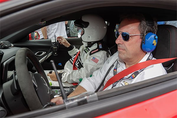 File Photo of General Motors Executive Vice President Global Product Development Mark Reuss driving the Pure Michigan 400 Pace Car, the new 2018 Camaro ZL1 NASCAR Cup Race Car Sunday, August 13, 2017.