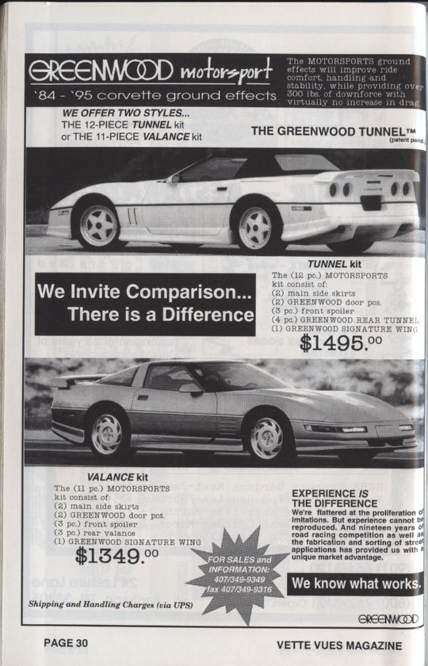 A two-page advertisement that Greenwood Motorsport ran in Vette Vues Magazine in 1995