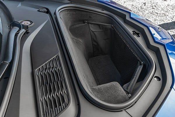 The frunk (front trunk) on the 2020 C8 Chevrolet Corvette