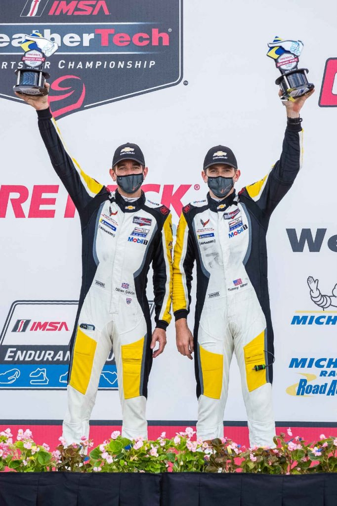 Oliver Gavin and Tommy Milner, drivers of the #4 Mobil 1/SiriusXM Chevrolet Corvette C8.R celebrate their second place finish in the GTLM class Saturday, September 5, 2020 during the IMSA WeatherTech SportsCar Championship's TireRack.com Grand Prix at Michelin Raceway Road Atlanta in Braselton, Georgia. The finish puts Gavin and Milner into second place in the drivers standings. (Photo by Richard Prince for Chevy Racing)
