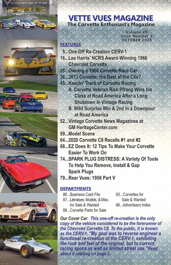 Articles in the October 2020 issue of Vette Vues Magazine