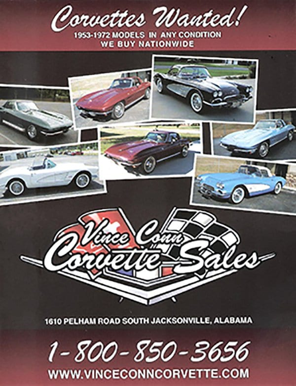 Vince Conn Corvette: Corvettes for Sale. Used Corvette dealer and buying classic Corvettes 1953 to 1972. Any Condition - Nation Wide. 800-850-3656