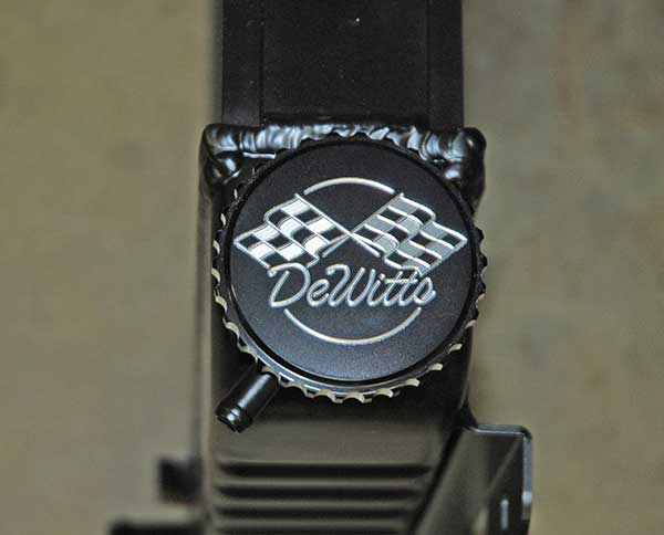 Here's a look at the cool billet pressure cap cover used on the DeWitts radiator.  This is a 15-PSI cap.