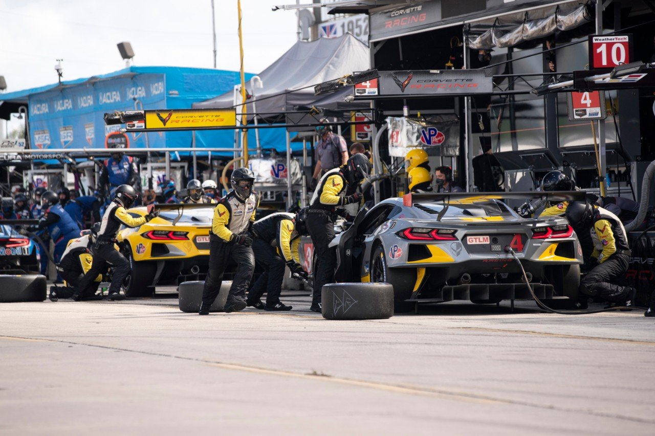 Corvette Racing; Mobil 1 12 Hours of Sebring in Sebring, FL; November 14, 2020; Corvette C8.R #3 driven by Antonio Garcia, Jordan Taylor and Nicky Catsburg; CorvetteC8.R #4 driven by Oliver Gavin, Tommy Milner, and Marcel Fässler (Richard Prince/Chevrolet Photo)