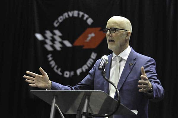 Tom Peters accepting his induction into the 2019 Corvette Hall of Fame in Bowling Green, Ky.