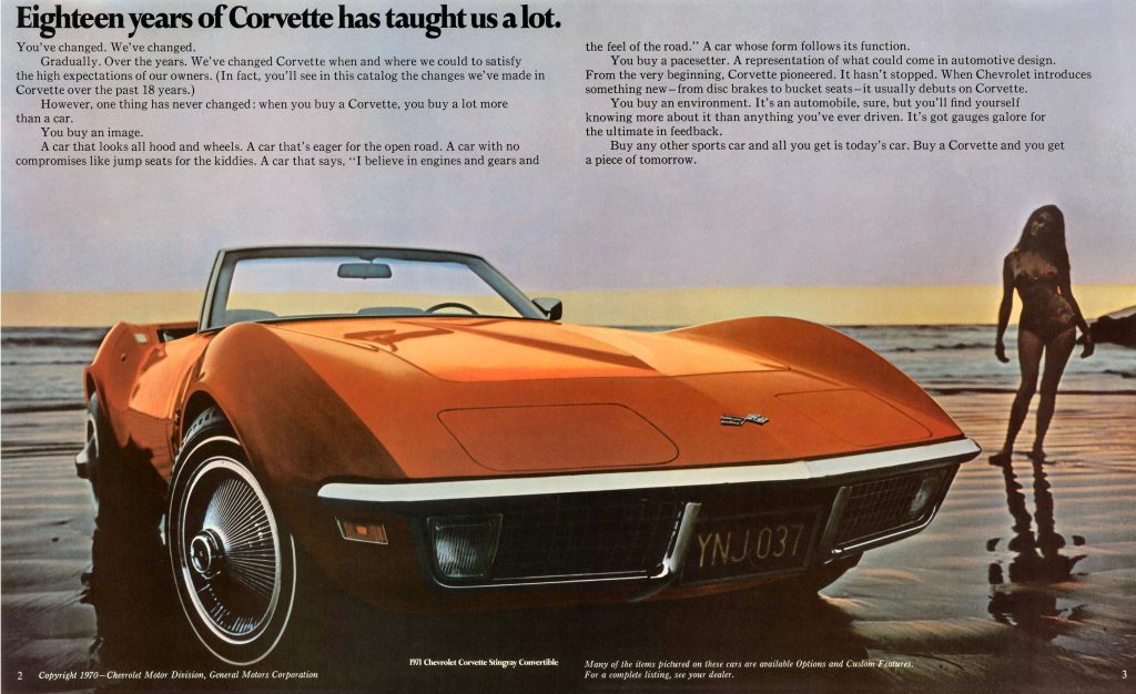 """""""Eighteen years of Corvette has taught us a lot."""" a 1971 Corvette advertisement.  (Image courtesy of GM Media)"""
