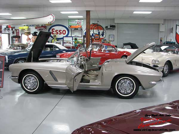 1962 Corvette, Fawn Beige, Fawn Beige interior, White Soft Top, All Correct Born with 327-340hp, 4 Speed, Heater, Radio, Sunshades, Courtesy Light, 74k Original Miles, 3 Time NCRS Top Flight, PV, and Duntov, 3 Owner car, some owner History, Original Keys, Owners Manuel, Duntov Plaque signed by Zora Duntov, One of the best Original Fawn Beige 62 Corvettes offered for sale today.  www.vintagecorvettes.com    706 857-3916