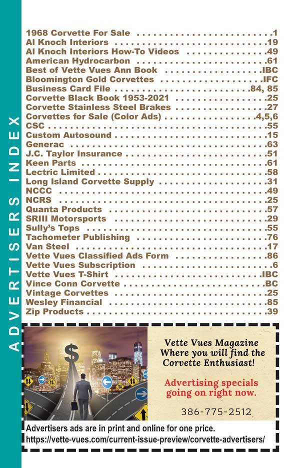 April 2021 Issue Vette Vues Magazine Advertisers